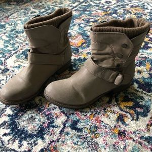Aldo Gray Buckle Embellished Ankle Boots 8M